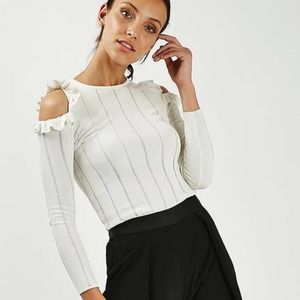 Topshop Ivory Frill Ruffle Come Shoulder Knit Top